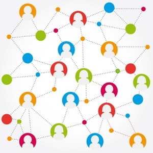 Colorful symbols of people being connected together in a web - as on the internet or social media.
