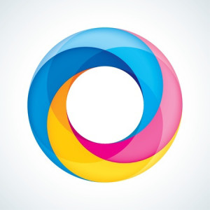 Abstract concept of Infinite Abundance: a donut shape with red, yellow and blue colors swirling around the shape.