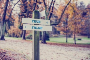 A sign post in a park with one sign pointing to Truth and the other sign pointing to False.