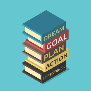 Business literature stack five steps toward success. Dream goal plan action and persistence. Motivational books success knowledge development and reading concept. EPS 8 vector
